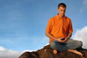 Meditator on hill